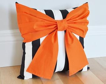 Halloween Pillow, Orange and Black Pillows, Halloween Decor, Nightmare Halloween Theme Black Stripe Pillow