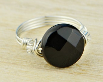 Round Black Onyx and Any Two Birthstones Ring-Rose or Yellow Gold Filled or Sterling Silver Wire Wrapped- Size 4,5,6,7,8,9,10,11,12,13,14