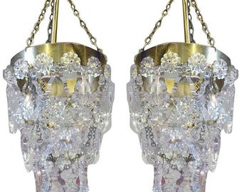 Charming pair of XV style french chrystal pendant lights.
