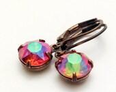 vintage multicolor iridescent aurora borealis rhinestone earrings   wedding   bridal party   dames and divas earrings
