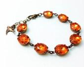 vintage light topaz rhinestones   orange pumpkin   wedding   bridal party   dames & divas bracelet