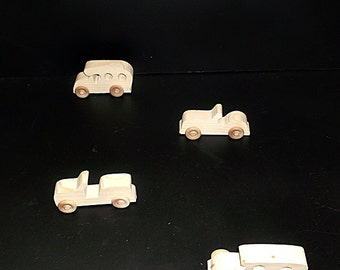4 Handcrafted Wood Toy Cars  OT-96  unfinished or finished