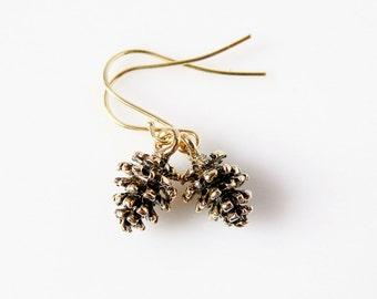 Gold Pinecone Earrings Fall Woodland Charm Earrings Bohemian Gold Earrings Tree Seed Pine Cone Earrings Botanical Drop Earrings Mountain