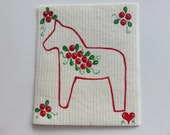 Hand painted Swedish dishcloth with Dalahorse and Lngonberries