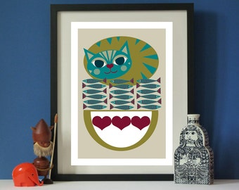 Vintage inspired Cat Food A3 print  Mid-century style print