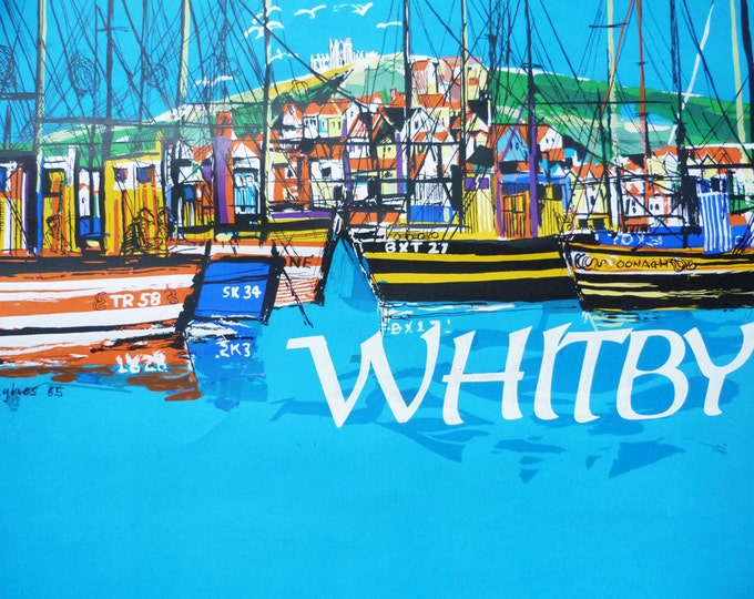 Travel poster Whitby Colin Hughes 1960's illustration