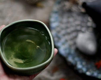Green square porcelain tea bowl, chawan