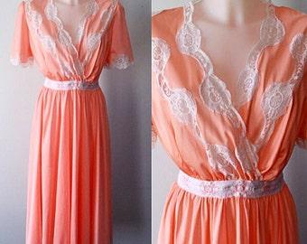 Vintage 1980s Nightgown, Peach Nightgown, Custom Made Nightgown, Vintage Nightgown, Nightgown