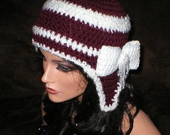 35 % OFF SALE Crochet Women Burgundy Fluffy White Teardrop Bead Bow Ear Flap Hat Snowboard Hat