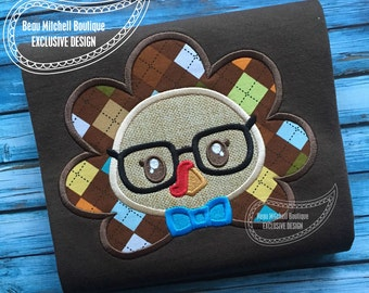 Nerdy turkey applique