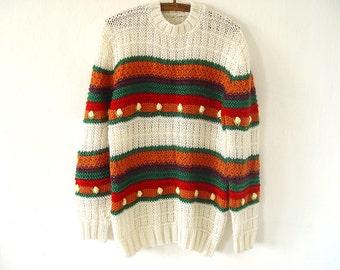 Women's 70's Sweater. Folk Sweater