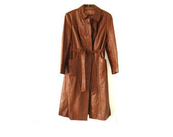 Brown Leather Coat Vintage 70's Women's Genuine Leather .