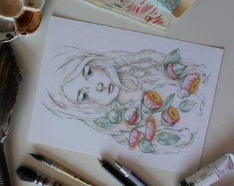 5x7 Botanical Portrait. Fine art archival print. Watercolor illustration