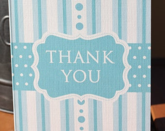 Baby Shower Stripes and Dots Thank You Note Card - Printed