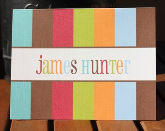 Custom Personalized Stripes Note Card - Printed