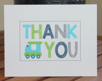 Choo! Choo! All Aboard! Train Printed Note Card - Birthday, Thank You, Baby Shower