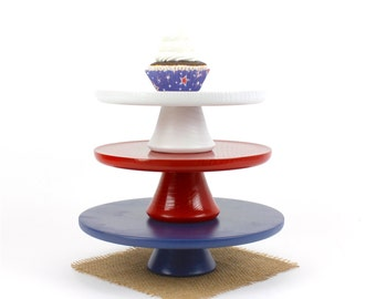 White Cake Stand, Smash Cake Stand Prop, Wooden Cake Plate / Pedestal Stand