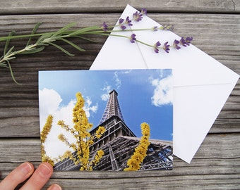 "Paris Photo Notecard - ""Eiffel Tower with Forsythia"" - Single Folded Card with Envelope, Blank Inside"