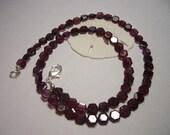Beautiful Garnet necklace, faceted hexagonal garnet, faceted gemstone necklace, dark red, wine red, 925 silver, natural gemstone necklace