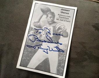 Vintage Johnny Unitas Autograph Photo Football Colts Quarterback