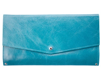 Mae Wallet in Turquoise Leather