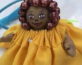 Black Mini Doll In Buttercup Yellow Dress Comfort Gift Figurine - FREE Shipping