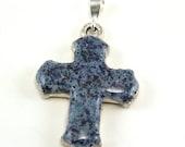 Cross Pendant, Erica Style, Crushed Flowers, Sterling Silver, Memorial Keepsakes