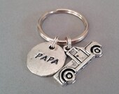Papa Handstamped Keyring with Truck Charm
