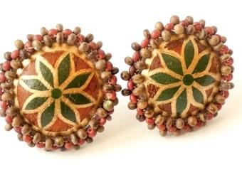 Vintage Flower Earrings Clip On Disc Earrings Hippie Fashion