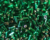 10 Grams of 3 mm Silver Lined Green Emerald TOHO Bugle Beads (TH282)