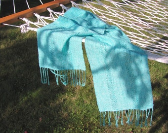Summer Spring Scarf, Sea Glass Turquoise Blue Beach Scarf, Artisan Hand Woven Lightwieght Mens Womens Scarf, Tropical Vacation Travel Scarf