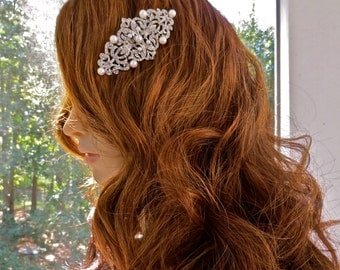 Pearl Bridal Hairpiece, Pearl Wedding Hairpiece, Pearl Crystal Hairpiece, Silver Bridal Comb, Silver Wedding Comb
