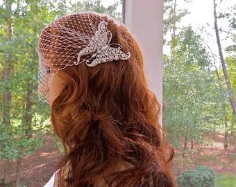 Rhinestone Veil, Crystal Veil, Bridal Veil, Wedding Veil, Butterfly Veil, Bandeau Veil, Birdcage Veil, Blusher Veil