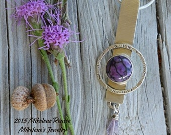 SALE Clearance .... Lavender Loveliness .... sterling silver statement Pendant- NECKLACE contemporary METALSMITH Artisan jewelry by Mikelene