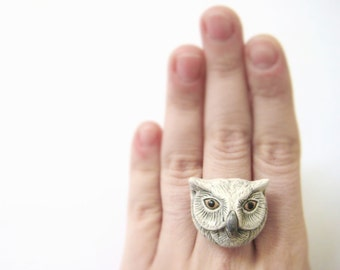 Nature Inspired Ring - Animal Statement Ring For Her - Barn Owl Ring - Snow Owl Jewelry Women Bird Ring Animal Lover Gift Large Tribal Ring