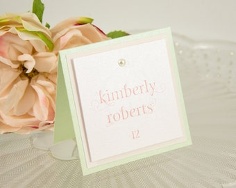 Square, Triple-Layered, Pearl-Studded Seating Card
