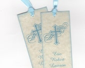 Boy Baptism Bookmark Favor Tag, Blue Personalized Religious Cross Bookmark Tag / Christening Communion Favor Tag - Vintage Style Set of 10