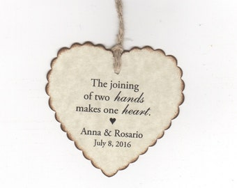 50 Wedding Favor Heart Wish Tree Tags, Wedding Shower Favor Gift Tags, Two Hands One Heart Tags - Rustic Vintage Style
