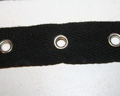 "1,  5,  or 10 yards black cotton silver grommet twill trim tape sewing for Corsets Bustiers Lacing costumes 3/4"" wide"