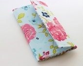 Turquoise and Pink Rose Trifold Wallet