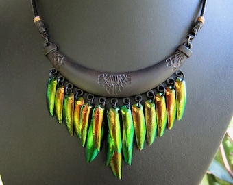 Bronze Beetle Wing Necklace