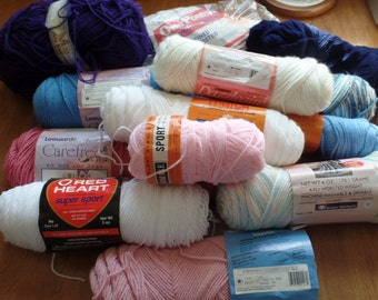 Large De-Stash Lot of Full and Partial Skeins of Yarn