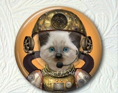 Pocket Mirror  Steampunk Kitty Buy 3 get 1 Free 532