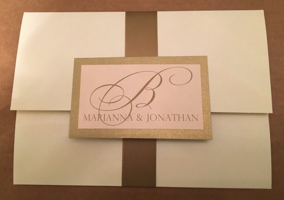 Ivory pink gold wedding invitations for Wedding invitations 50 cents each