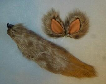 Dark Brown Wolf Fox Dog Faux Fur Costume Set Tail and Ears Cosplay Halloween