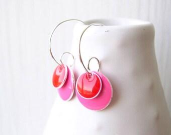 Pink Hoop Earrings, Enamel Jewelry, Red, Simple, Silver, Geometric, Modern, Simple, Drop, Colorful