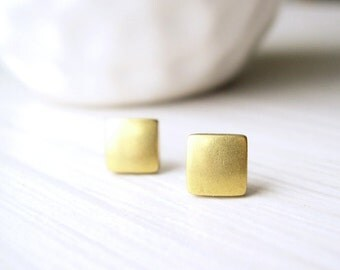 Small Brass Post Earrings - Gold Tone Jewelry, Geometric, Simple, Square, Titanium Studs, Modern, Vintage Components