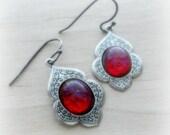 Dragon Breath Fire Opal Earrings Oval Red Jewelry Gift for Mom Gift Under 20 Fire Opal Jewelry