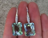Green Amethyst Earrings.  Luxury Pave French Hooks