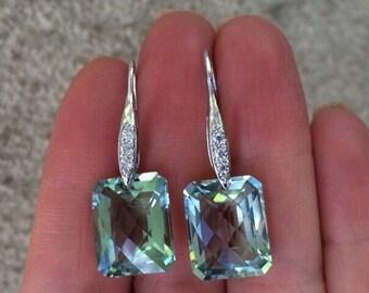 Green Amethyst Earrings.  Sterling silver Pave.  Luxury jewelry